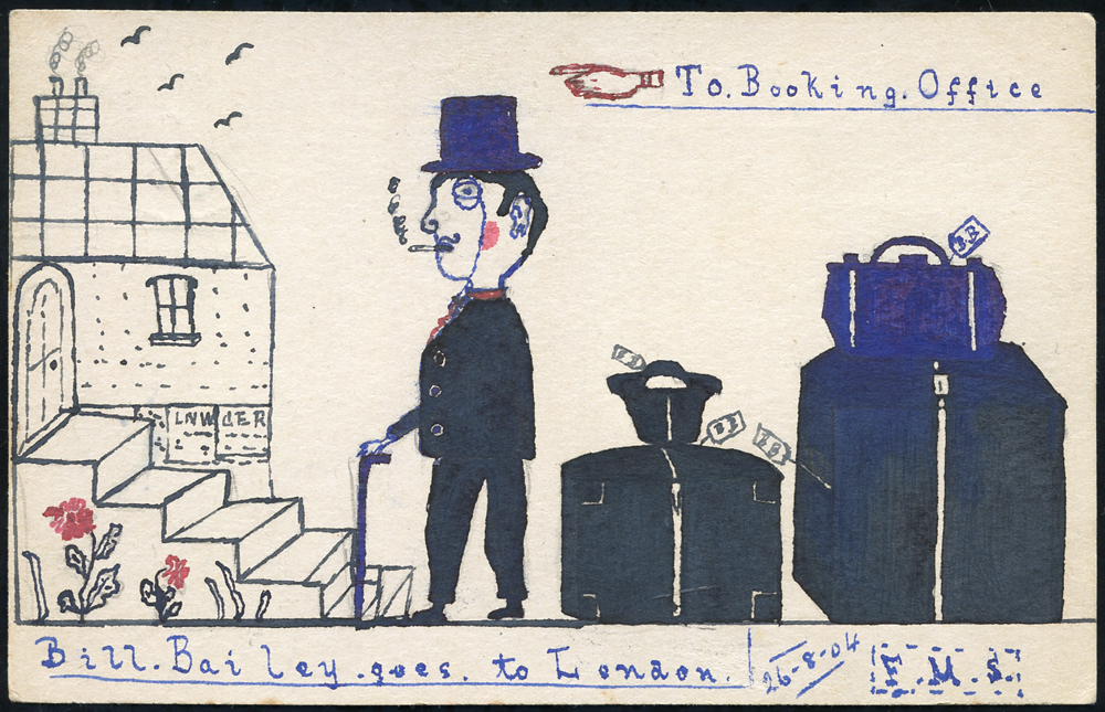 1904 postcard from the Bill Bailey Correspondence, used locally in Brandon, hand painted illustration