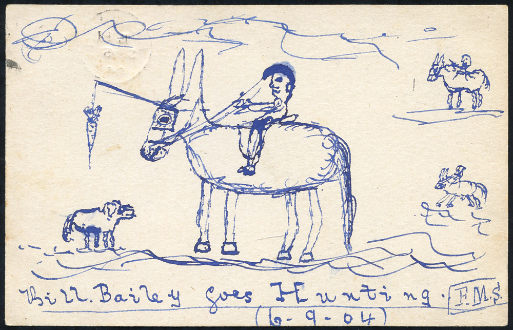 1904 postcard from the Bill Bailey Correspondence, used locally in Brandon, pen & ink illustration