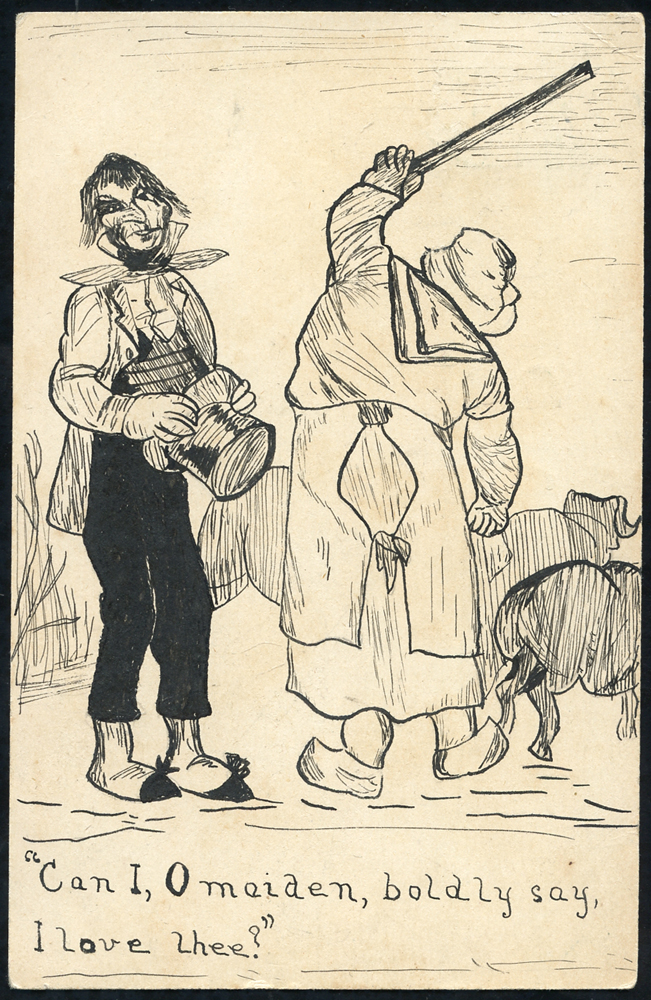 1904 postcard used locally in Maldon, shows pen & ink hand illustration