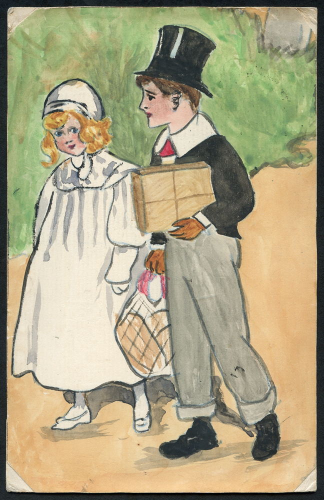 1903 postcard from Taffs-Well to Paignton, hand painted illustration