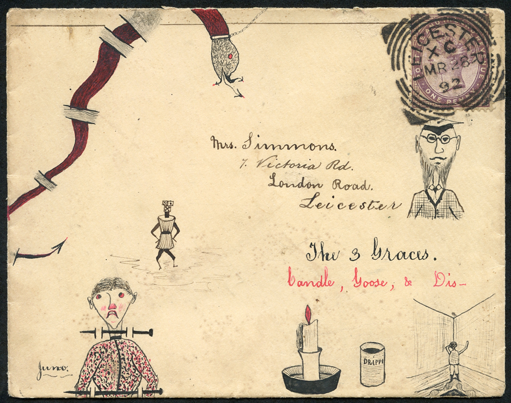 1892 envelope from the Simmons Correspondence, used locally in Leicester, pen & ink illustration