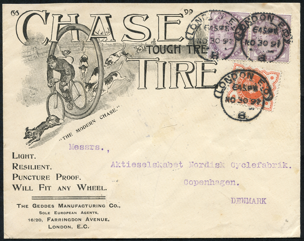 1897 1d lilac (2) & ½d vermilion on envelope from London to Denmark, advert for the Geddes Manufacturing Co.