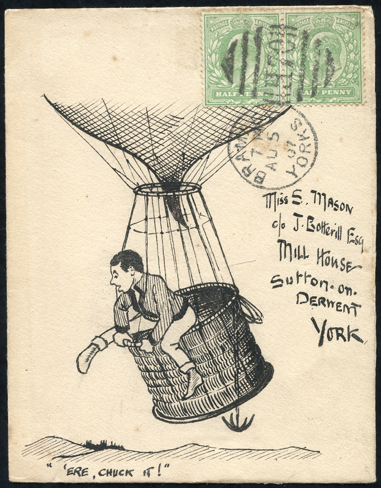 1907 pen & ink illustrated envelope from Bradford to York