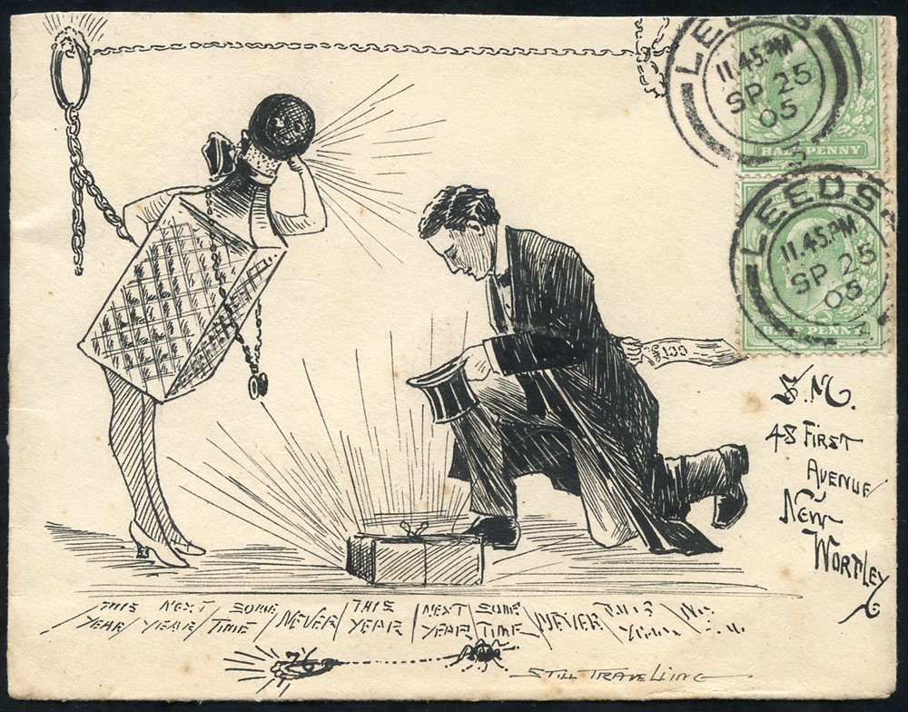 1905 nicely executed pen & ink illustration on an envelope from Leeds