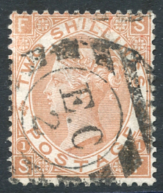 1880 2s brown SF, VFU example cancelled E.C/2 barred oval