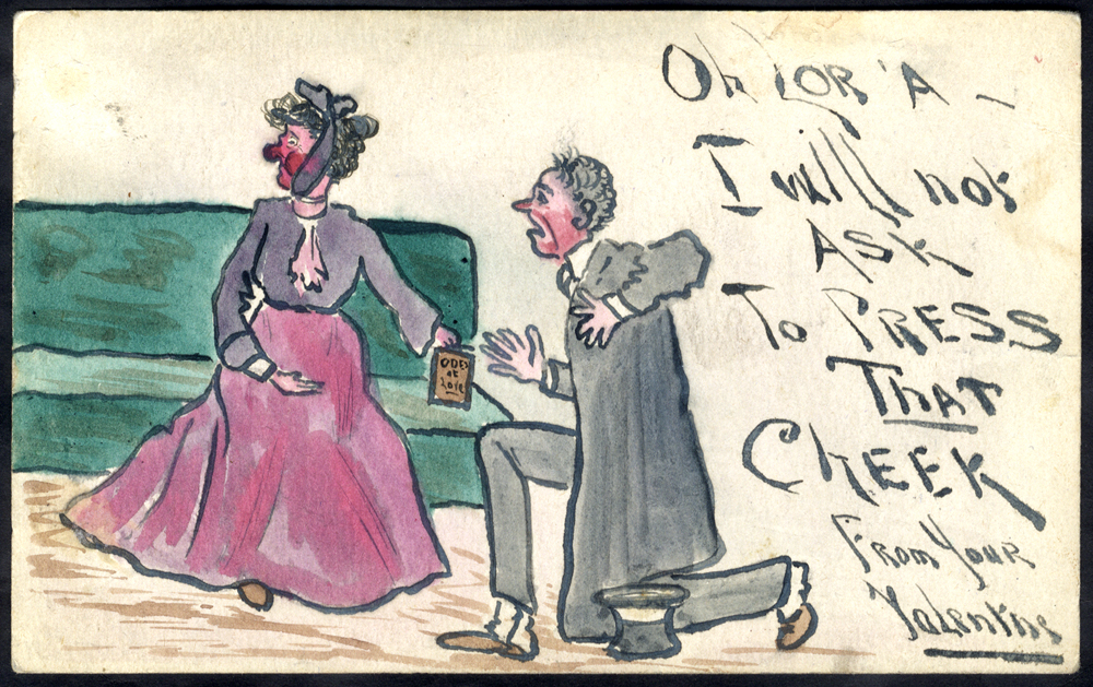 1911 postcard used locally in London, hand painted water colour