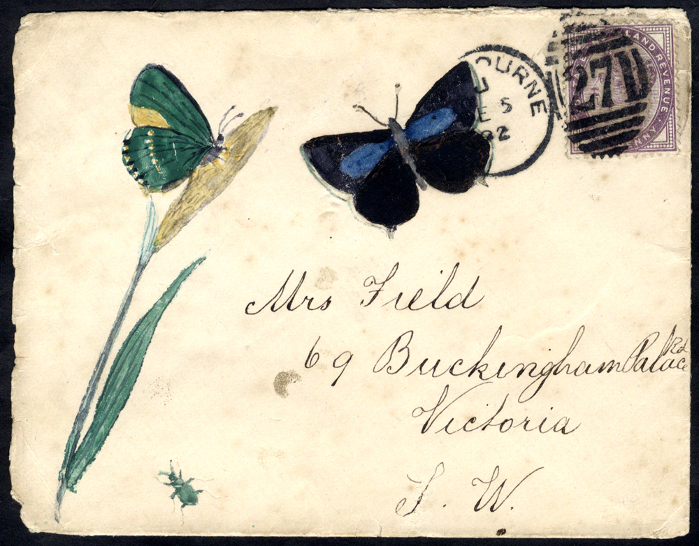 1892 envelope from Eastbourne to Victoria, London, hand painted illustration