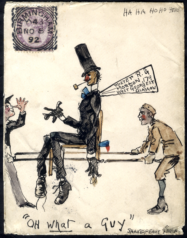 1892 envelope from Birmingham to Glasgow, hand illustration in pen & ink & water colour