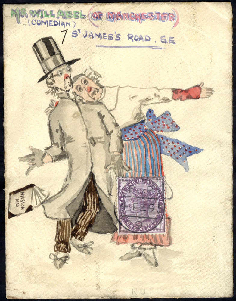 1909 inside back of an envelope used locally in London, attractive water colour illustration