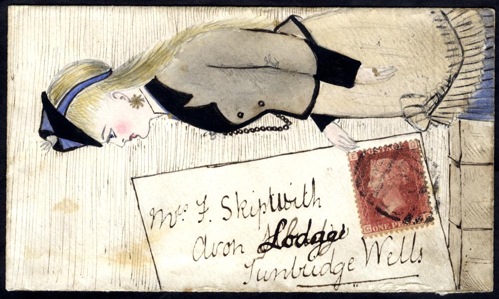 1869 envelope from Shoreham to Tunbridge Wells,  pen & ink/water colour illustration