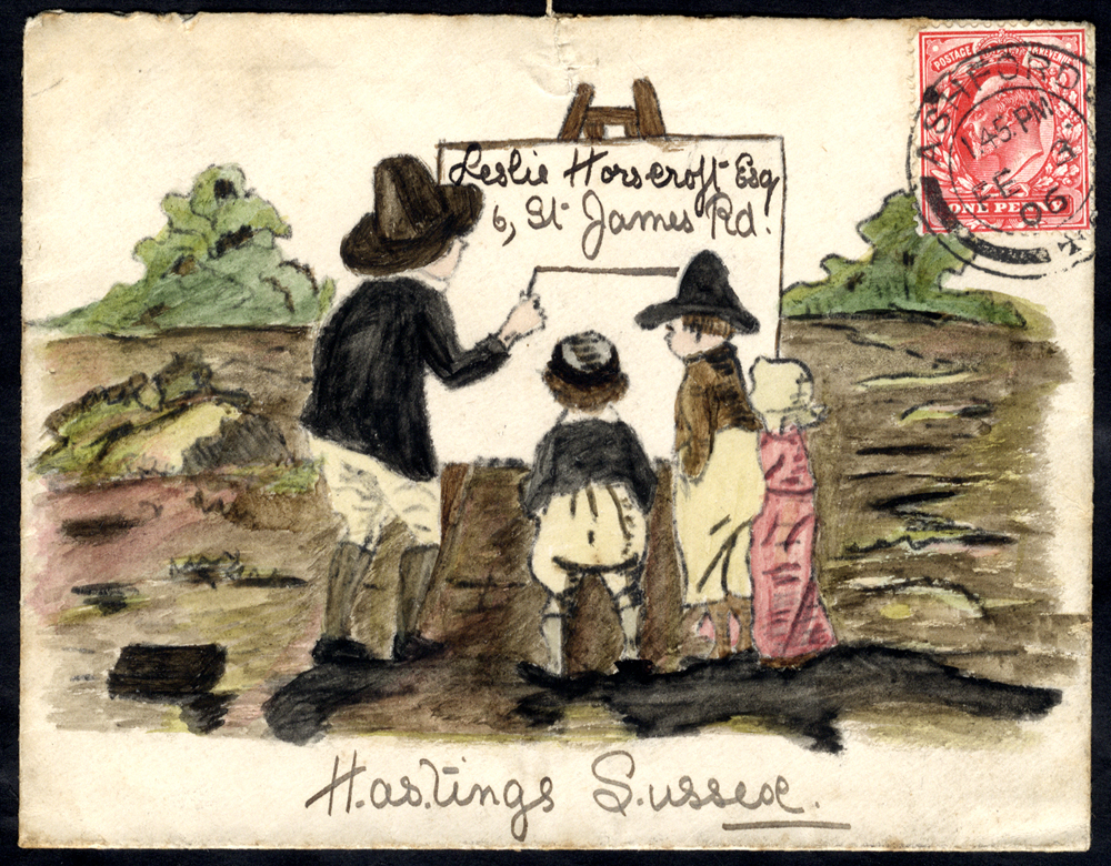 1906 envelope sent from Ashford to Hastings, hand painted illustration