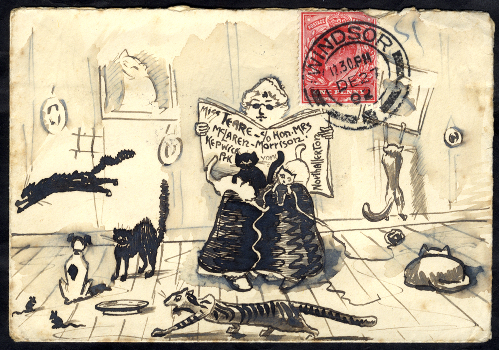 1902 envelope sent from Windsor to Northallerton, pen & ink illustration