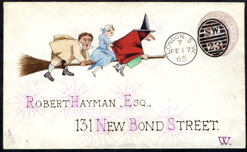 1865 1d pink envelope addressed to New Bond Street with a hand painted water colour illustration