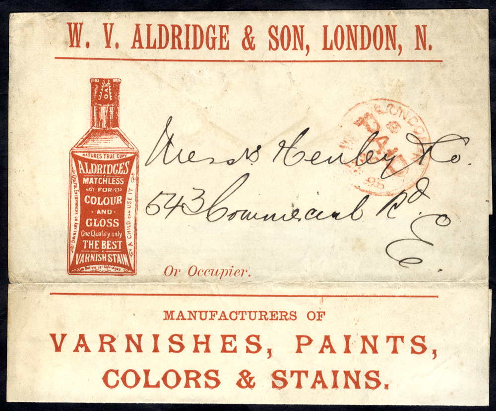 1896 wrapper bearing printed advertising for W. V. Aldridge & Son, London  (Varnishes, Paints, Colors & Stains)
