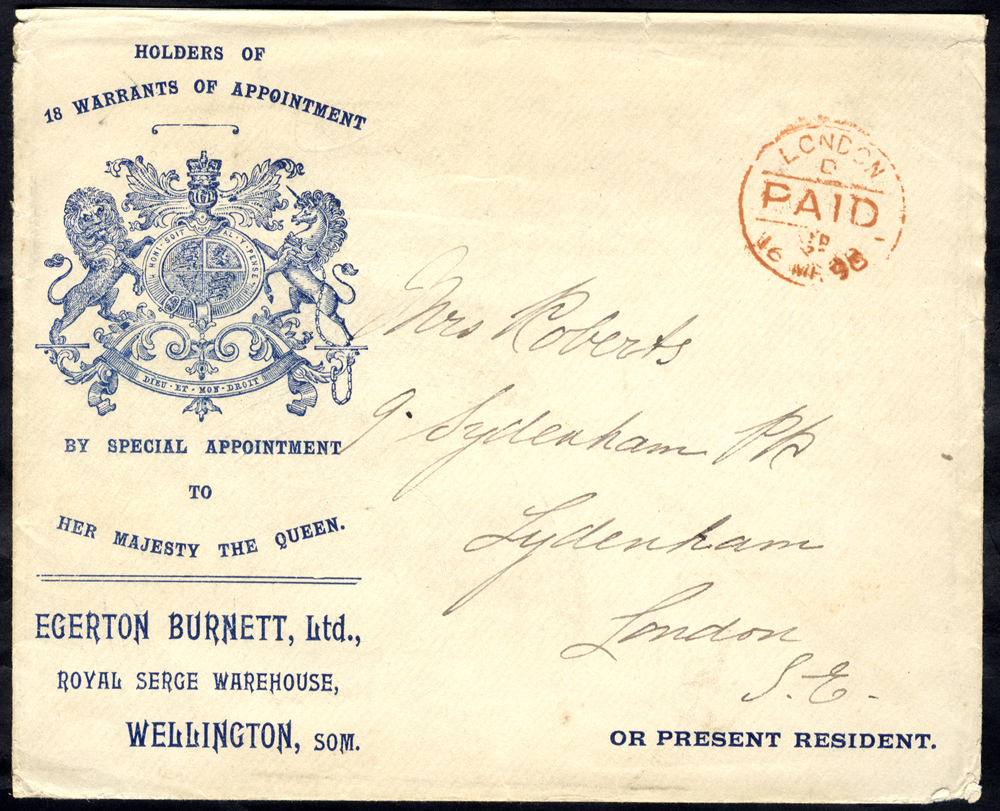 1898 envelope used locally in London, printed left side with Royal Warrant Coat of Arms for Egerton Burnett Ltd