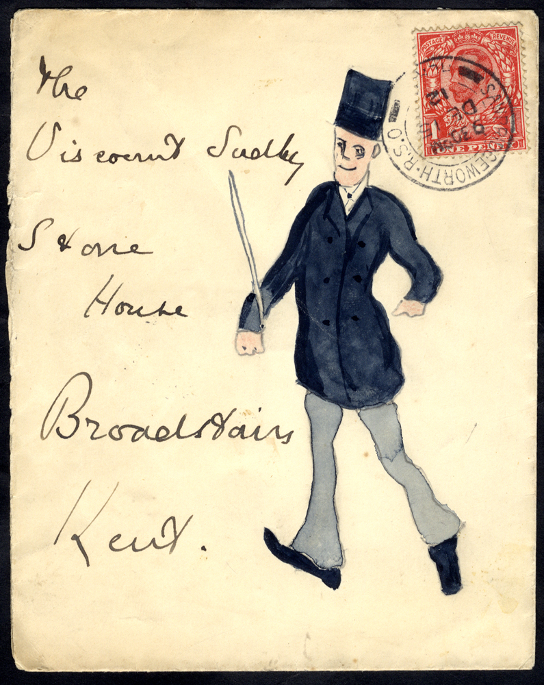 1912 envelope from Sawbridgeworth to Broadstairs, hand painted illustration