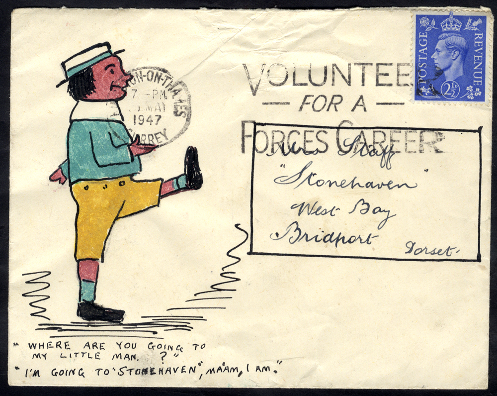 1947 envelope addressed to Mrs Staff at Bridport, hand illustration