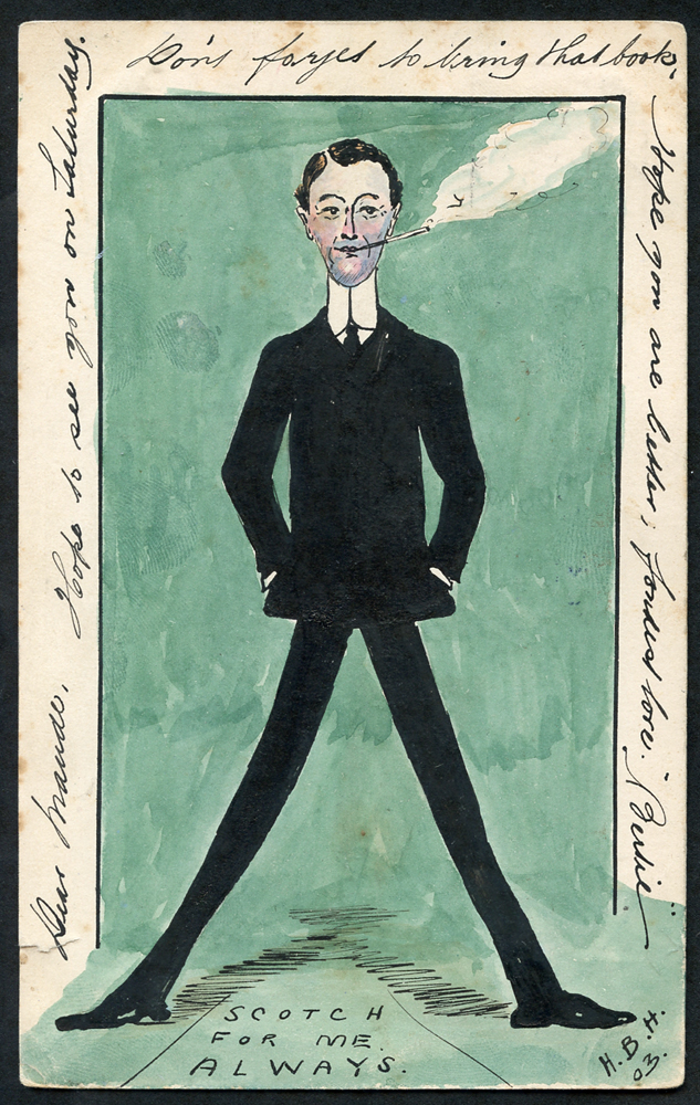 1903 postcard with hand painted water colour & ink portrait