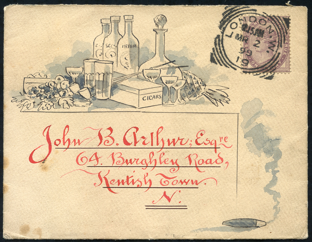 1899 envelope used locally in London with hand illustration