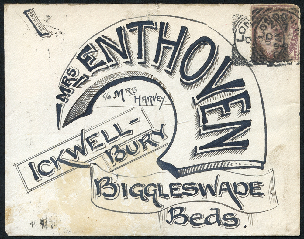 1896 cover front from London to Biggleswade with pen & ink fancy address