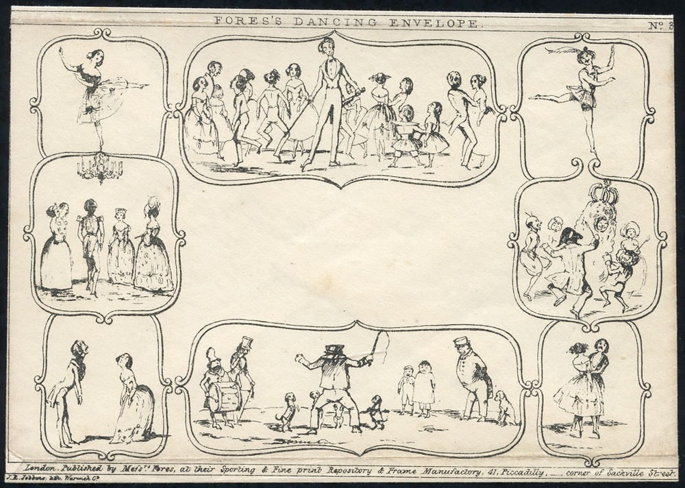 1840 'Fores's Dancing Envelope' No. 3, unused