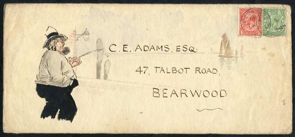 1916 The Adams Correspondence envelope (1) & envelope fronts (2), each bears a hand painted water colour illustration