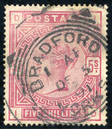 1883 5s rose, fine used, Bradford, Yorks datestamp, SG.180