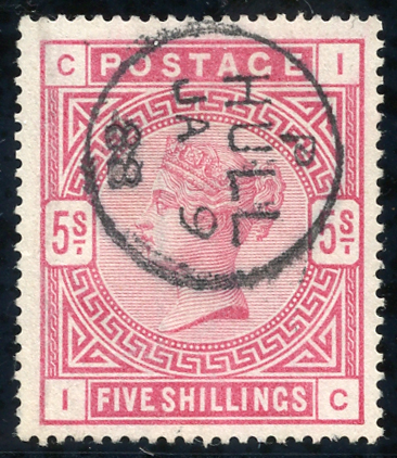 1883 5s rose, superb used, Hull c.d.s. SG.180, Cat. £250
