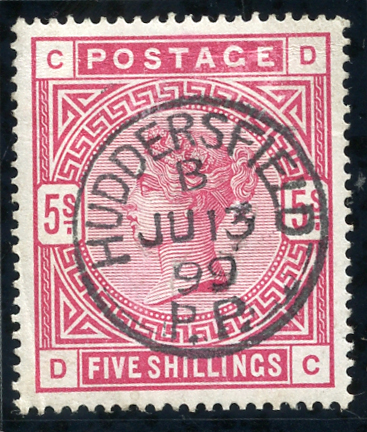 1883 5s crimson, superb used example, Huddersfield c.d.s. SG.181, Cat. £250