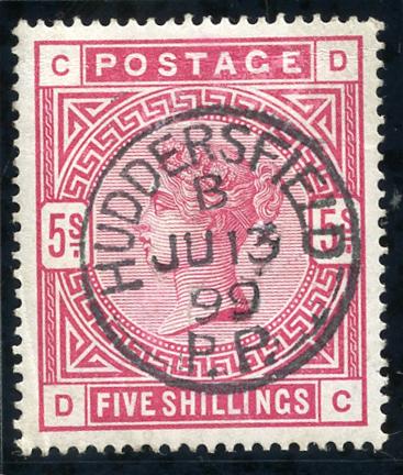 1883 5s crimson, superb used example, Huddersfield c.d.s. SG.181, Cat. £250