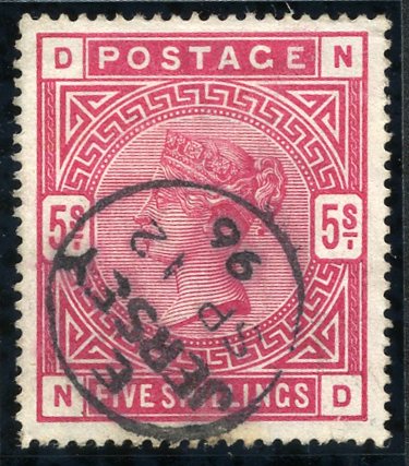 1883 5s crimson, lovely intense shade, Jersey single ring c.d.s. SG181, Cat. £250