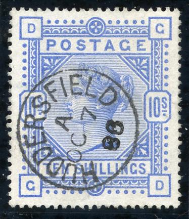 1883 10s ultramarine, a fine example, Huddersfield c.d.s. SG.177