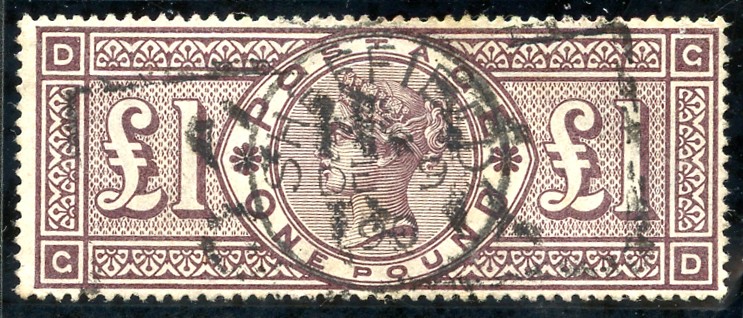 1884 wmk crowns £1 brown lilac GD, fine used, SG.185, Cat. £3000