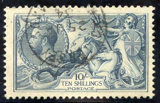 1918 Bradbury 10s dull grey blue, neat crisp Jersey steel c.d.s. SG.417, Cat. £175.