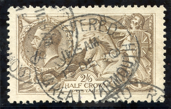 1918 Bradbury 2/6d olive brown, 'Registered/Great Yarmouth/15.De.20' oval datestamp, SG.413a, Cat.£100.