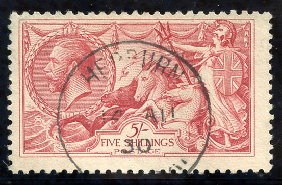 1918 Bradbury 5s rose red, SG.416, Cat. £135+
