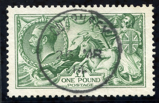 1913 waterlow £1 green. Guernsey c.d.s. SG.403