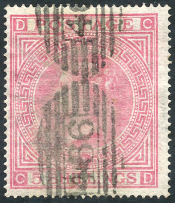 1867-83 5s pale rose Pl.1, wmk Maltese Cross, SG.127, Cat. £675