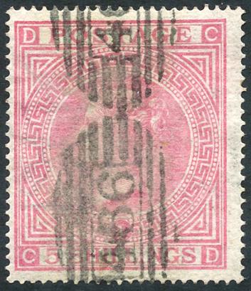 1867-83 5s pale rose Pl.1, wmk Maltese Cross, SG.127, Cat. £675