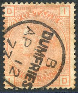 1876 4d vermillion, bold 'Dumfries/Ap 1277' c.d.s, SG152, Cat. £525
