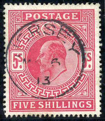 1912 Somerset House 5s carmine, single ring Jersey c.d.s. SG.318, Cat. £200