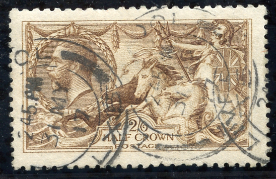 1915 D.L.R 2/6d yellow brown, double ring c.d.s. for Liverpool, sg. 406, Cat. £225