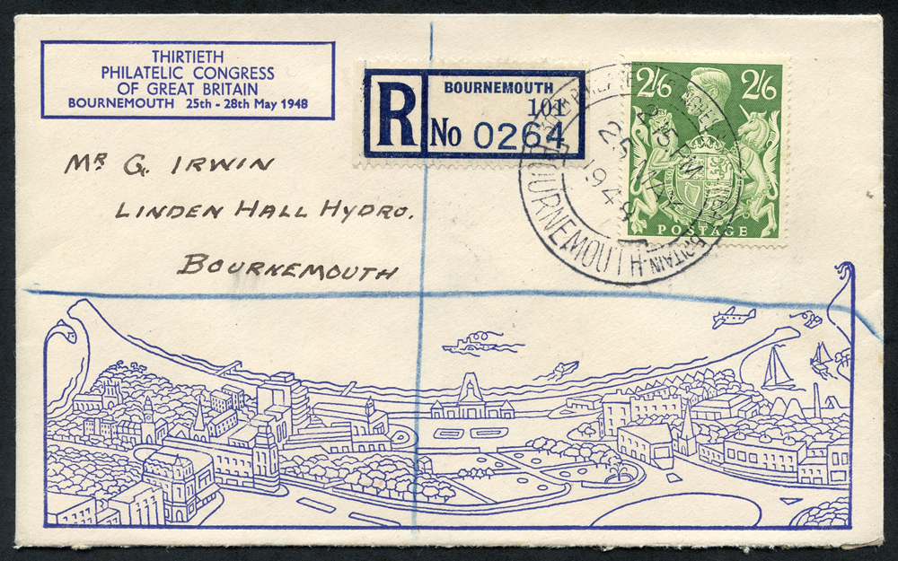 1948 Bournemouth Philatelic Congress cover franked 2/6d green