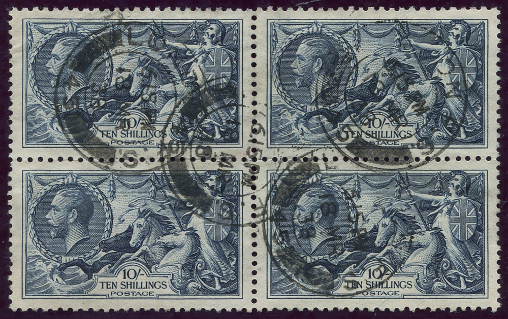 1934 Re-engraved 10s indigo, block of four, SG.452, Cat. £320++