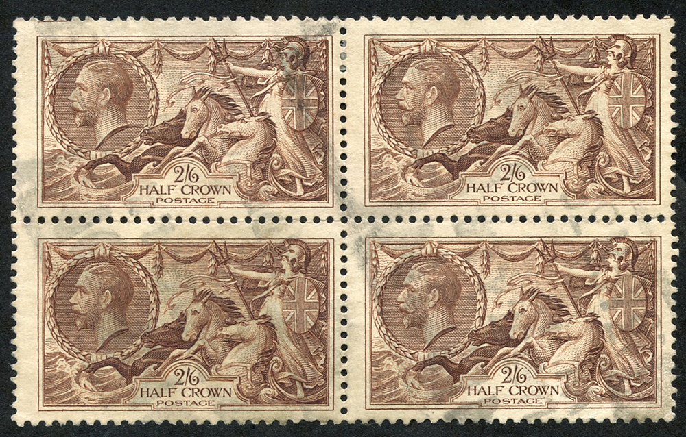 1934 Re-engraved 2/6d reddish brown, block of four, SG.450, Cat. £160++