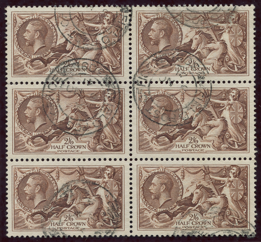 1934 Re-engraved 2/6d reddish brown, block of six, SG.450, Cat. £240++