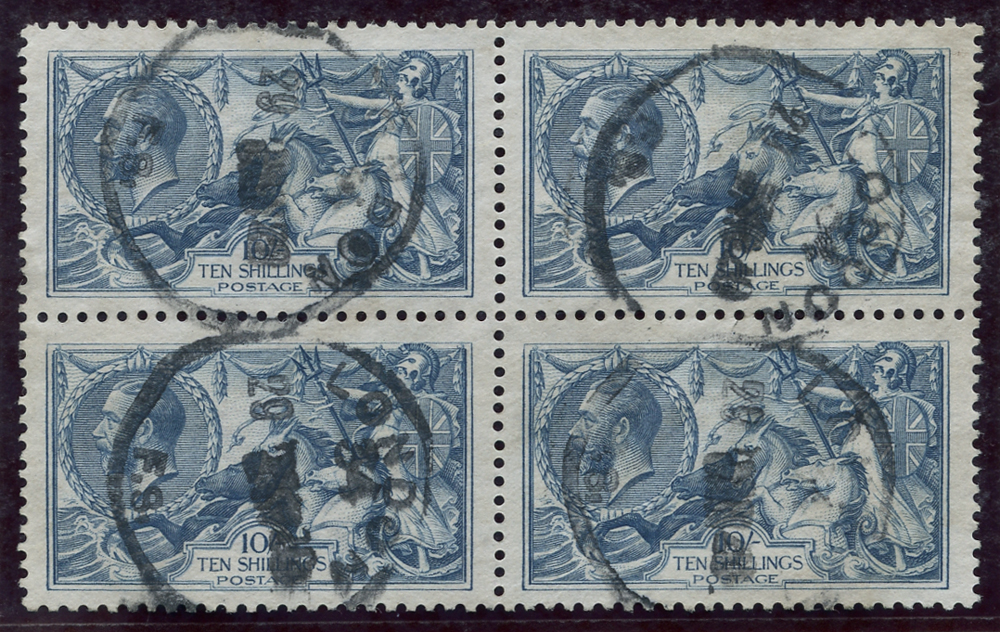 1918 Bradbury 10s dull grey blue, block of four, SG.417, Cat £700+