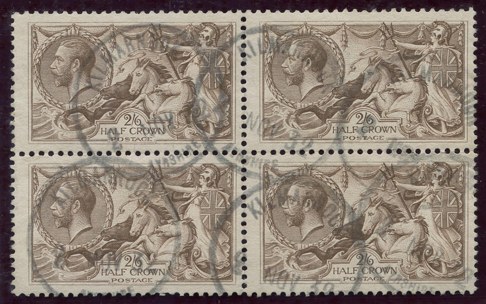 1918 Bradbury 2/6d chocolate brown, block of four, SG.414, Cat. £300++