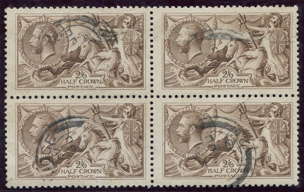 1918 Bradbury 2/6d pale brown, block of four,SG.415a, Cat. £340++