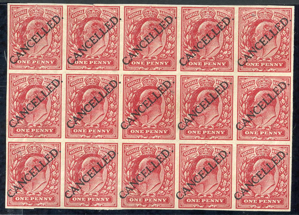 1911 1d scarlett imperforate block of fifteen (5 x 3), Cat. £2250+